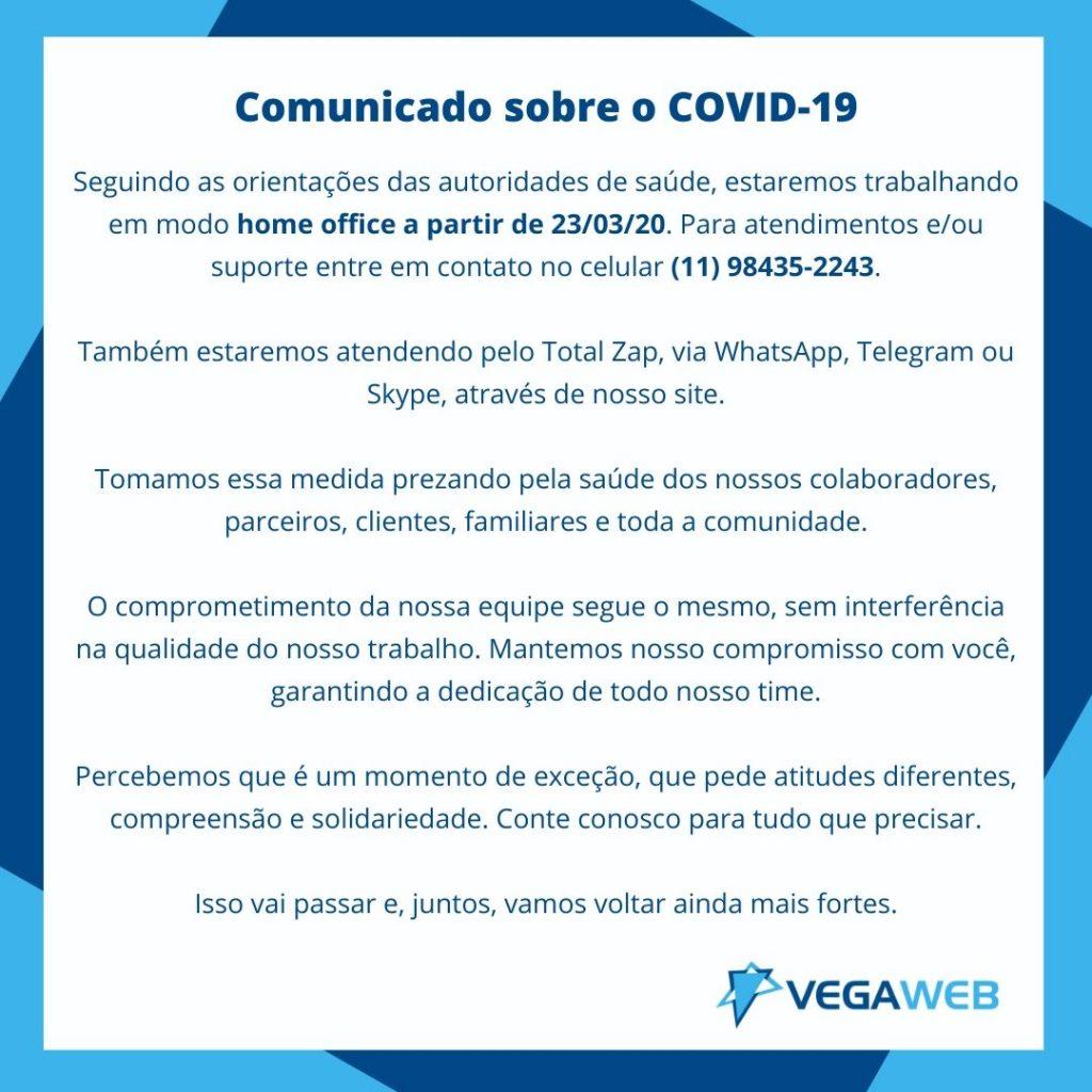 Comunicado sobre o COVID-19